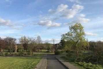 A landscape shot of greenery in Lordship Recreation Ground